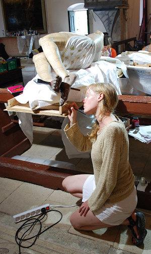 Christ papier maché Laura Morel Conservation Restauration de sculptures : bois, plâtre, pierre, plastique, Auvergne Rhône Alpes, Jura, PACA, Bourgogne